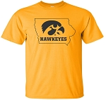 TIGERHAWK HAWKEYES IN STATE - GOLD T-SHIRT