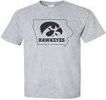 TIGERHAWK HAWKEYES IN STATE - LIGHT GREY T-SHIRT