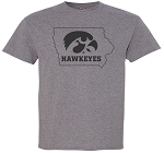 TIGERHAWK HAWKEYES IN STATE - MEDIUM GREY T-SHIRT