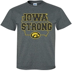 IOWA STRONG in STATE of IOWA - DARK GREY T-SHIRT