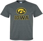 OVAL TIGERHAWK IOWA DISTRESSED - DARK GREY T-SHIRT