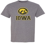 OVAL TIGERHAWK IOWA DISTRESSED - MEDIUM GREY T-SHIRT