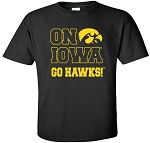 ON IOWA GO HAWKS - BLACK T-SHIRT