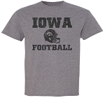 IOWA FOOTBALL W/ HELMET - MEDIUM GREY T-SHIRT