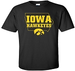 IOWA HAWKEYES IN STATE OUTLINE - BLACK T-SHIRT