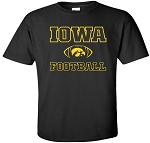 IOWA FOOTBALL W/ TIGERHAWK IN FOOTBALL - BLACK T-SHIRT