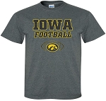 IOWA FOOTBALL W/ OVAL TIGERHAWK - DARK GREY T-SHIRT