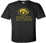 OVAL TIGERHAWK IOWA DISTRESSED - BLACK T-SHIRT