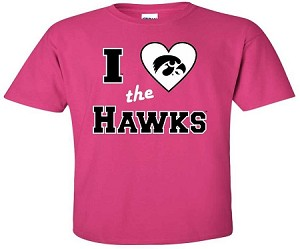 I LOVE THE HAWKS - HOT PINK  T-SHIRT