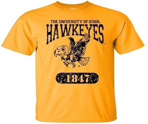 U OF I  HAWKEYES - GOLD T-SHIRT