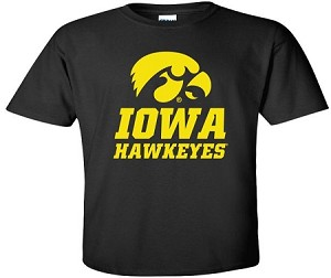 IOWA HAWKEYES - BLACK T-SHIRT