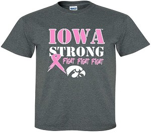 IOWA STRONG PINK RIBBON - DARK GRAY T-SHIRT