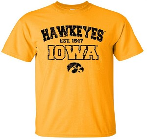 HAWKEYES est 1847 IOWA - GOLD T-SHIRT