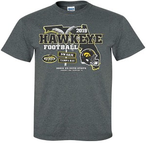 2019 OUTBACK BOWL IOWA HAWKEYES - DARK GREY T-SHIRT