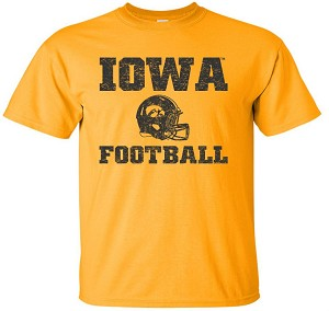 IOWA FOOTBALL W/ HELMET - GOLD T-SHIRT