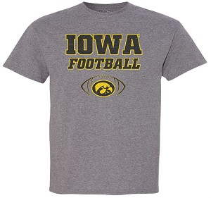 IOWA FOOTBALL W/ OVAL TIGERHAWK - MEDIUM GREY T-SHIRT
