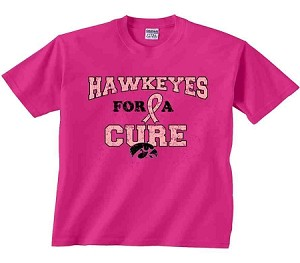 HAWKEYES FOR A CURE HOT PINK T-SHIRT
