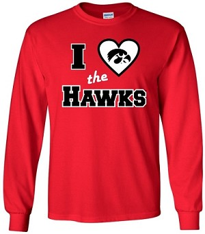 I LOVE THE HAWKS - RED LONG SLEEVE T-SHIRT