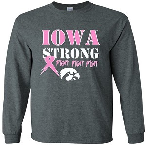 IOWA STRONG PINK RIBBON - DARK GRAY LONG SLEEVE
