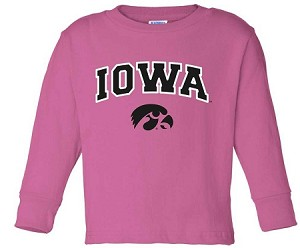 IOWA HOT PINK LONG SLEEVE T-SHIRT - INFANT/TODDLER