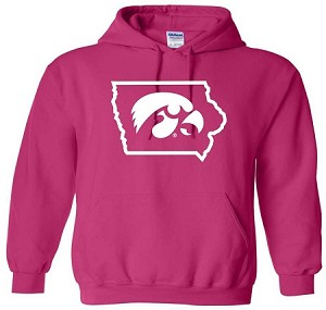 TIGERHAWK IN STATE OF IOWA HOT PINK HOODED SWEATSHIRT