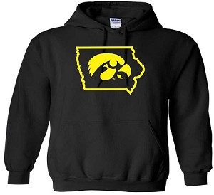 TIGERHAWK IN STATE OF IOWA BLACK HOODED SWEATSHIRT
