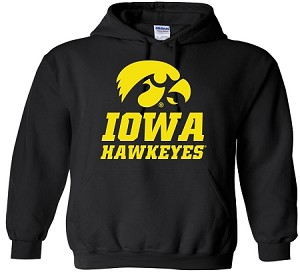 IOWA HAWKEYES - BLACK HOODED SWEATSHIRT